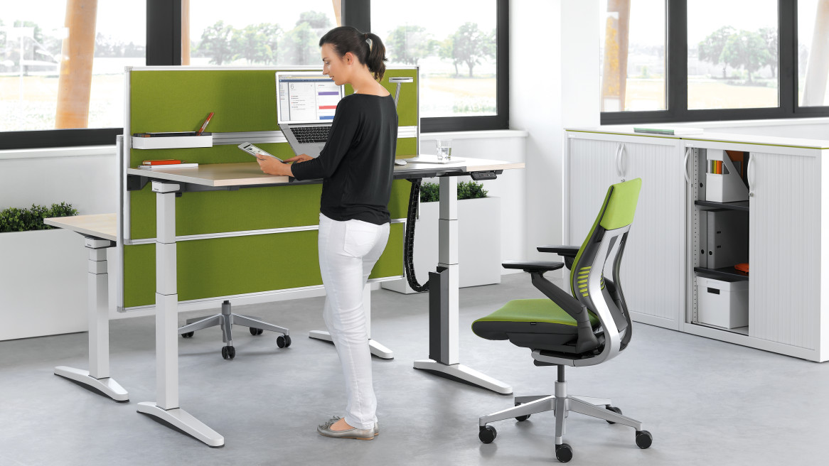 Universal Storage Cupboard, Gesture Office chair, Ology desk, Partito Screen