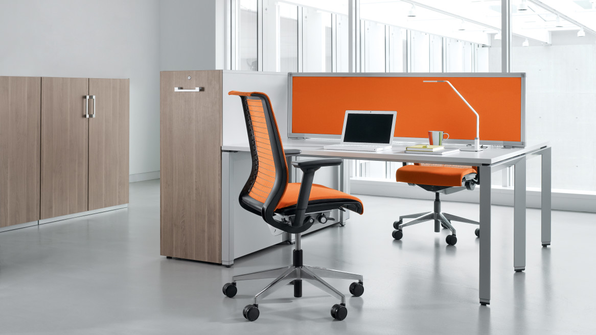 FrameOne desk, Think chair, High Density Storage