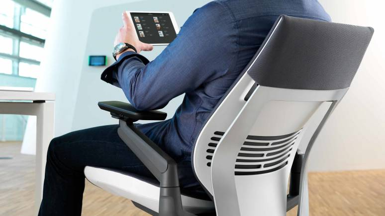 Gesture chair with tablet
