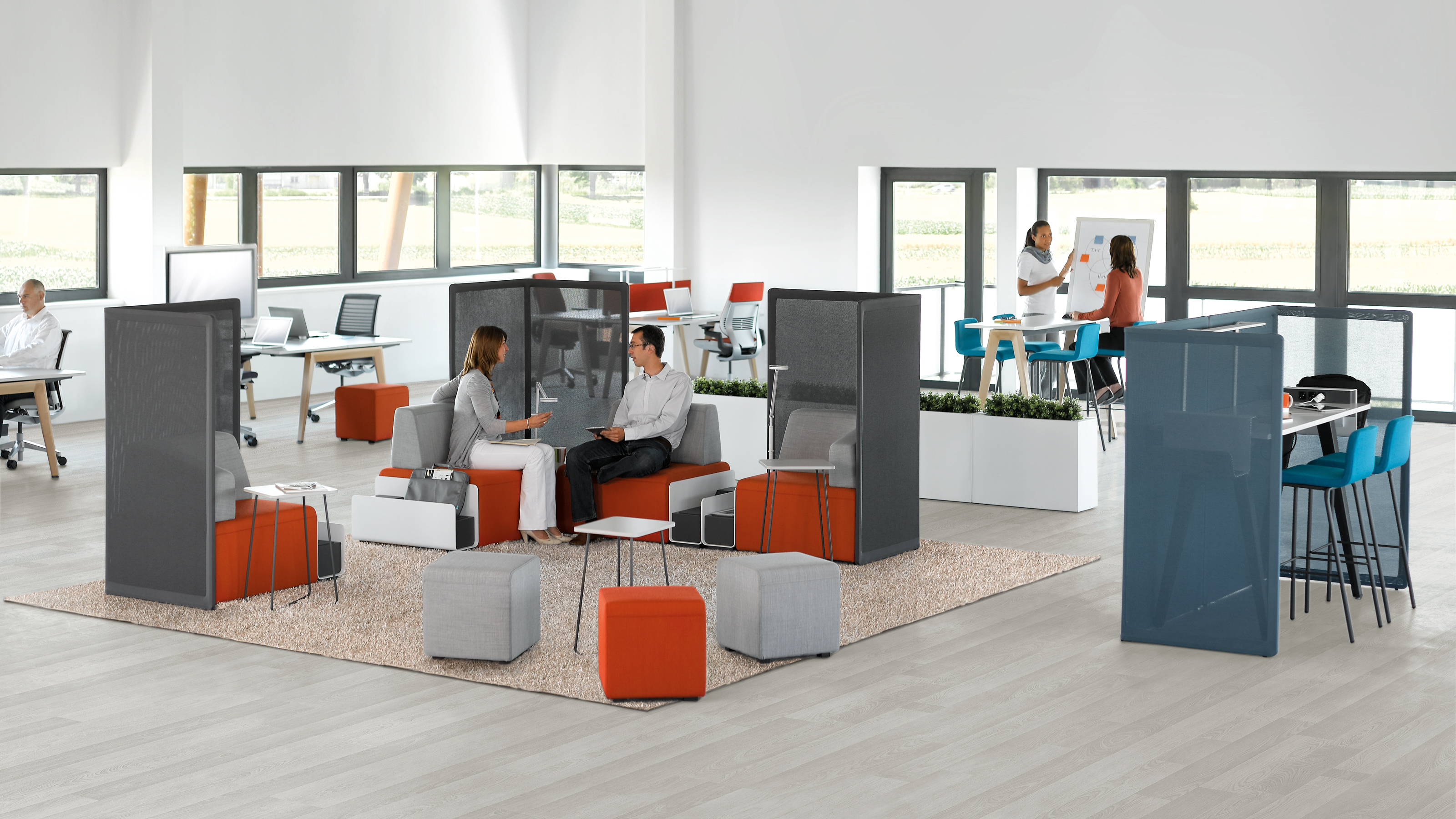 B Free Modular Desk System Soft Seating Meeting Tables