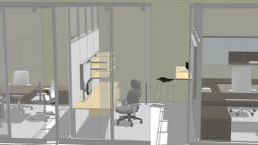 Space planning rendering showing Steelcase products in different private settings, including a Leap WorkLounge, Last Minute Stool, and SILQ Chairs