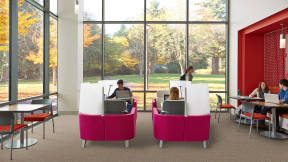 Four pink Brody WorkLounges in a work cafe setting