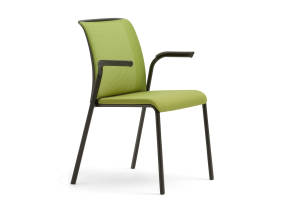 Reply Stackable Chair with Upholstered Back and Seat, Arms and Casters