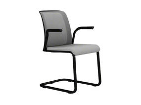 Reply Office Chair with Sled Base, Mesh Back, Upholstered Seat and Arms