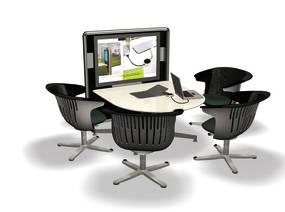 Sitzhöhe Tische D-Form mit Mediawand