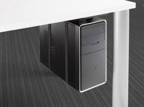 Vertical Processor Sling mounted under a desk holding a CPU