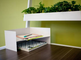 Bivi Organizer on a Bivi Desktop with a Bivi Planter in the background