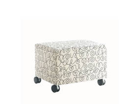 White Coupe Lounge Ottoman with Black Scribble Design