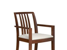 Oriana Vertical Slat-Back Guest Chair with dark wood finish with white cushion