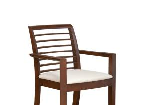 Oriana Horizontal Slat-Back Guest Chair with dark wood finish with white cushion