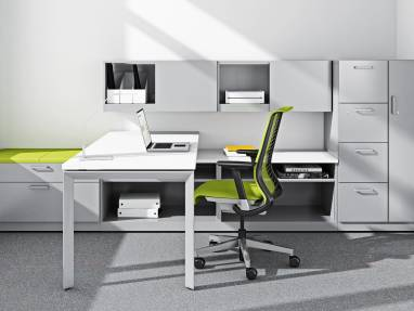 Think office chair at desk with universal storage