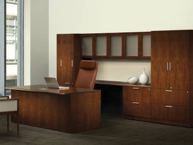 Contemporary style Walden Office Desk with Casegood Storage