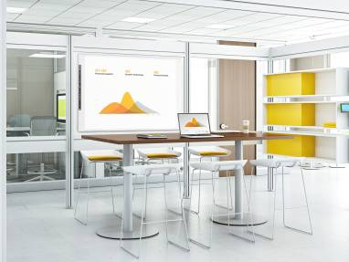 Meeting room with Post + Beam with Duo storage shelving