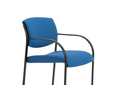 Blue Snodgrass Guest Chair with Black Metal Frame and Arms