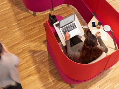 Woman working in a Brody WorkLounge
