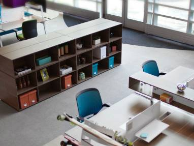 Cluster of four Depot Storage Shelves in an office next ot Bivi Desks