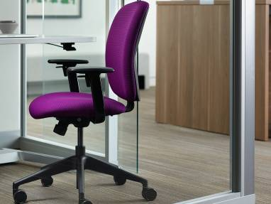 Purple Jack Desk Chair next ot an AirTouch Height Adjustable Desk