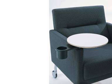 Blue Portable Sidewalk Lounge Armchair with Armrest Table