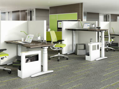 Ology Adjustable Benches with Think Task Chairs in an office