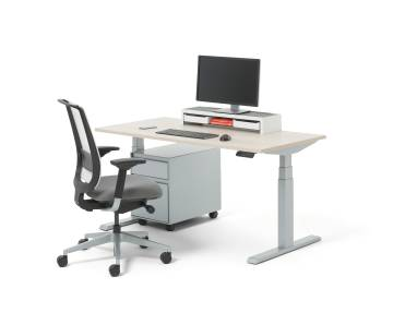 Migration Height Adjustable Workstation with computer and file cabinet