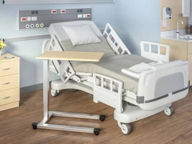 Overbed Table next to a hospital bed
