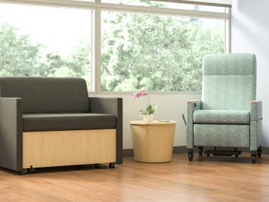 X-tenz sleeper and Mitra Recliner in a healthcare setting