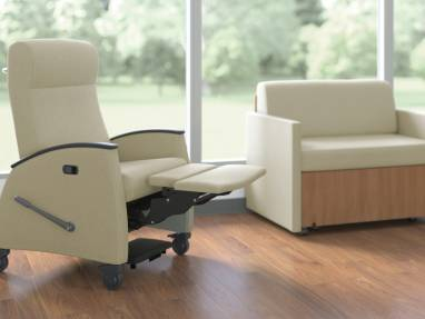 Cream Mitra Recliner with footrest extended