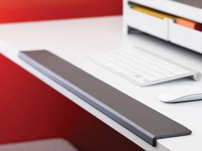 Grey SOTO Ergo Edge on the edge of a white desk