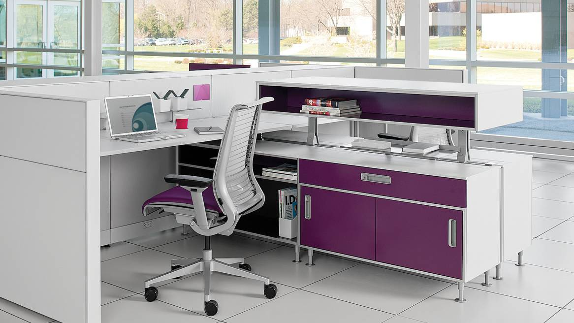 c:scape 2 purple workstations with Think office chairs and storage
