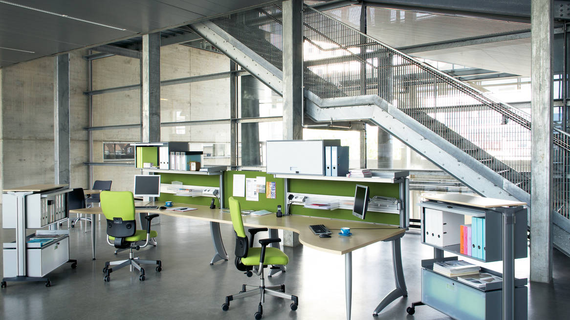 open space work environment with desks and task chairs TNT*