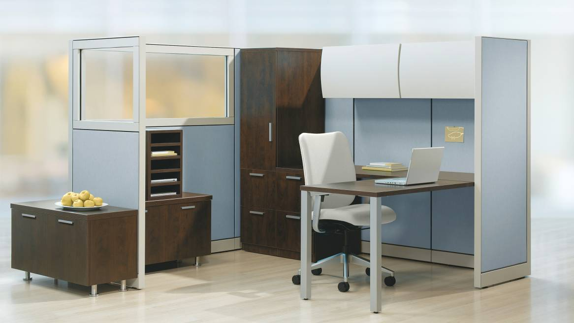 Currency Contemporary Desk in open office setting