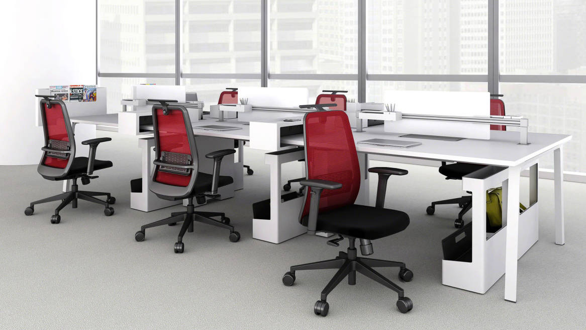 Red Personality Office Chairs at a cluster of Lexicon workstations