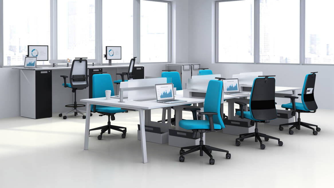 Personality Office Chairs and at Lexicon workstations in an office