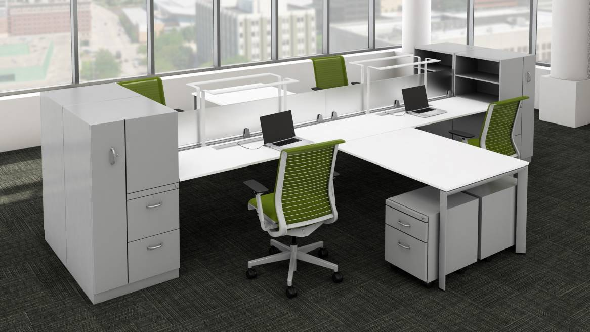 Cluster of 4 TS Series Workstations with LED Personal Task Lights above each desk