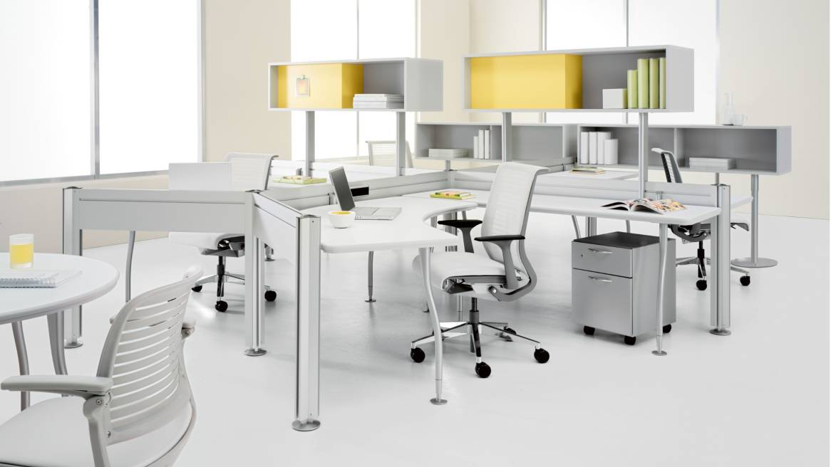 Duo Workstations with overhead storage Units