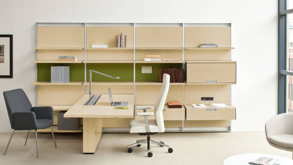 FlexFrame workspace with storage, shelving and desk