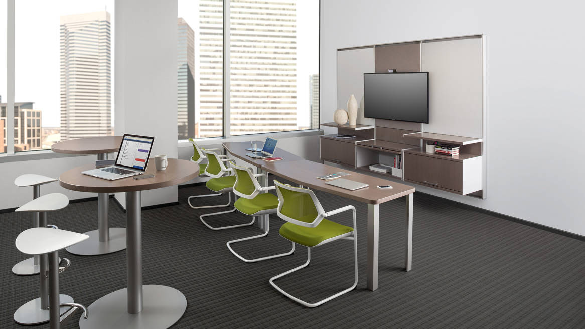 Convene Table + FlexFrame Workwall