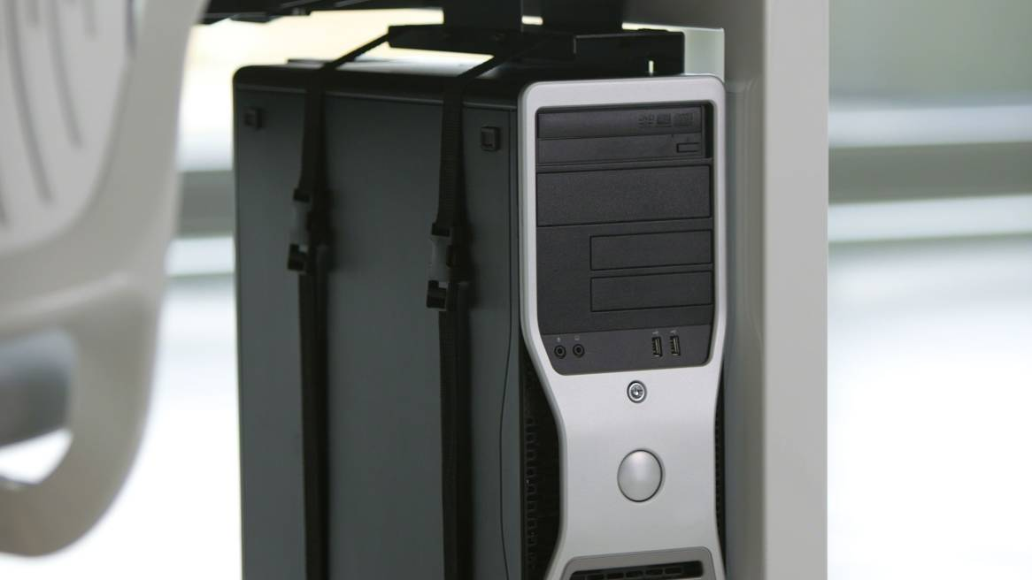 Vertical Processor Sling on a desk
