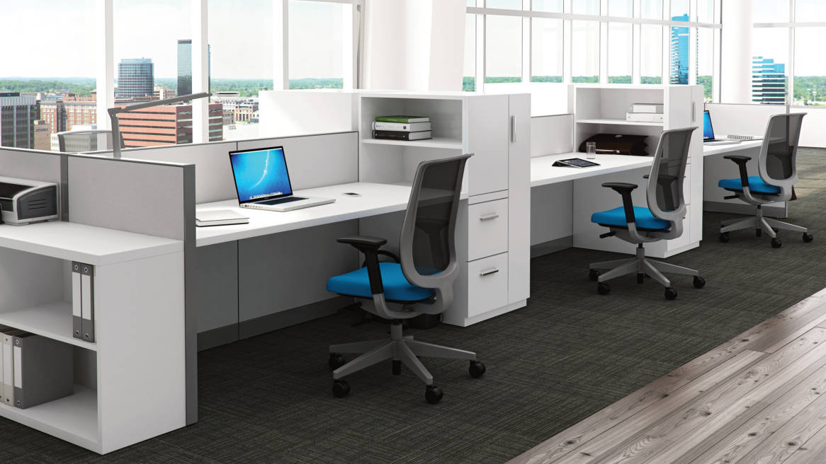 A row of three Kick Multi-Functional Workstations