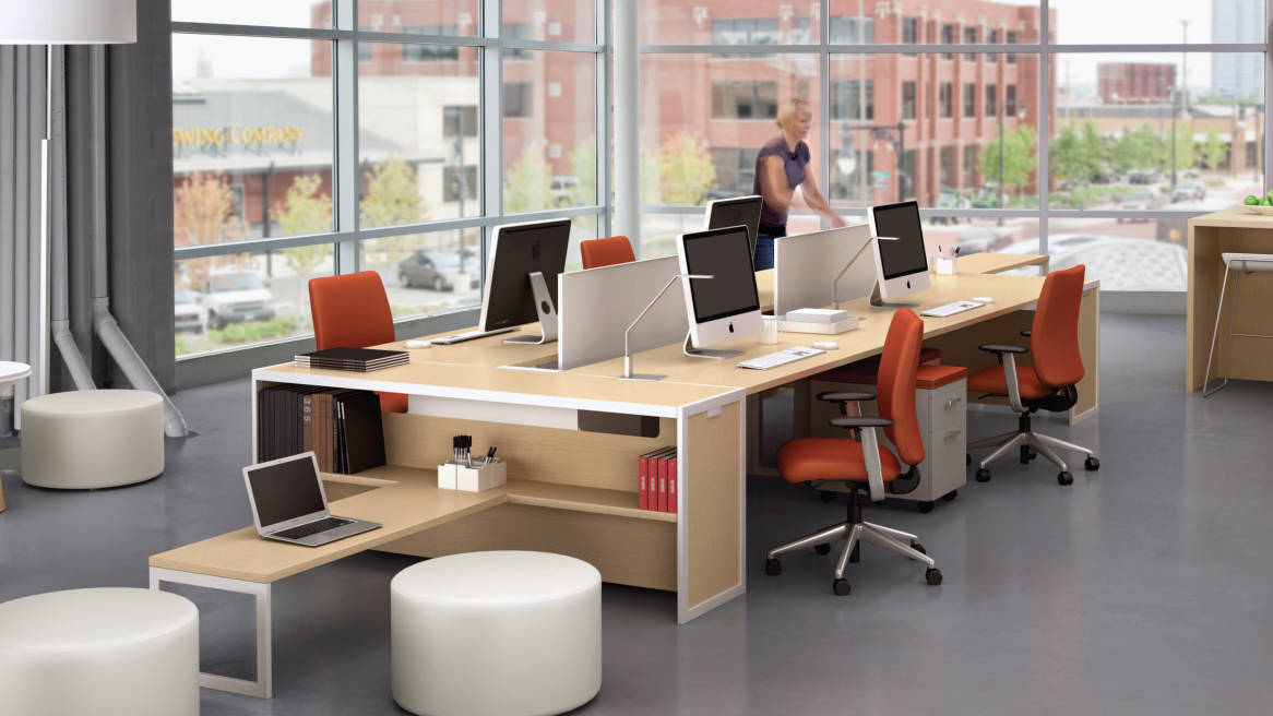 Turnstone Tour Bench Collaborative Office Tables Steelcase - Communal work table