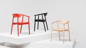 Mattiazzi Leva Armchairs in red, black and Natural Ash.