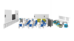 Steelcase Shortcut Chair, Smith System Oodle, Smith System Flavors Chair, Smith System Interchange Desk, Smith System Cascade Storage, Smith System Cascade Teacher Desk, Smith System Soft Rocker, Smith System Planner Table, Steelcase Verb Markerboard, Polyvision Flow