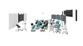 Steelcase Node Chair, Steelcase Shortcut Chair, Steelcase Verb, Polyvision Flow, Steelcase Mobile Elements Media Mount