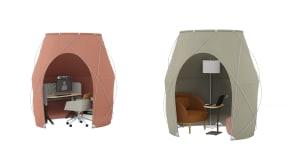 Steelcase Pod Tent, Steelcase Flex Height-Adjustable Desk, Steelcase Mobile Caddy, Steelcase CF Series Evolution Monitor Arm, Coalesse Marien152, Bolia Fuuga, Bolia Split Pouf