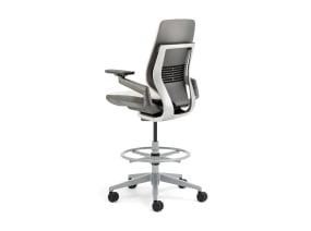 Rear-View of Shell Back Gesture Stool with White Upholstery