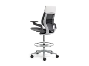 Rear-View of Wrapped Back Gesture Stool with White Upholstery