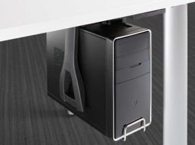 Vertical Locking CPU Cradle connected to the underside of a desk