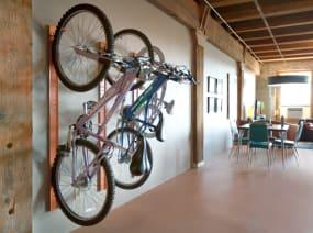 Three Bivi Bike Hooks on a wall in an office