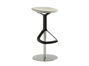 Lox Stool with black footrest and light grey cushion