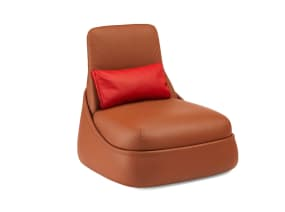 Brown Hosu Lounge Chair by Coalesse on white background